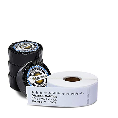 """OfficeSmartLabels 1-1/8"""" x 3-1/2"""" Address Labels, Compatible with 30252 (4 Rolls - 350 Labels Per Roll)"""