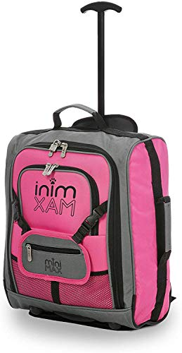 MiniMAX Childrens/Kids Luggage Carry On Trolley Suitcase with Backpack and Pouch for your Favourite Doll/Action Figure/Bear (Pink)