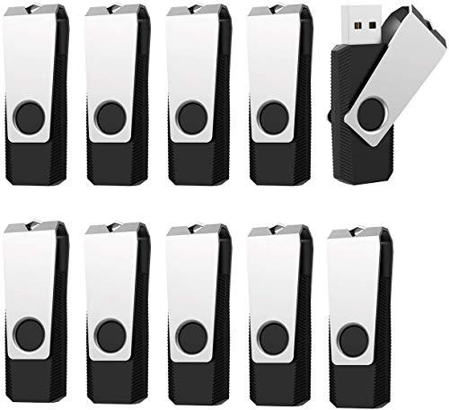 Vansuny 16GB Chiavette USB 3.0, 10 Pezzi PenDrive 16 GB 3.0 Rotazione a 360°, USB Unità Flash 3.0 ad Alta Velocità, USB Pennette Memoria Externo per PC, Laptop, Autoradio, TV (Nero)