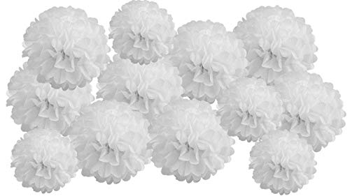 Pack of 12 Mixed Tissue Paper Pompom Pom Pom Hanging Garland Wedding Party Decorations (White, mix 8' & 10' (20 cm & 25 cm))