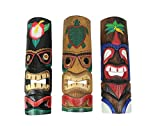 Zeckos Set of 3 Colorful Hawaiian Island Style Wooden Tiki Wall Masks 20 Inches High