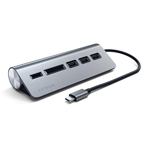 Satechi Type-C アルミニウム USBハブ & Micro/SDカードリーダー (iMac2017以降/iMac Pro, MacBook Pro, MacBook Air2018以降, iPad Proなど対応) (スペースグレイ)