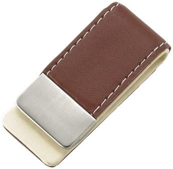 Personalized Gentry Brown Leather Money Clip - Free Engraving
