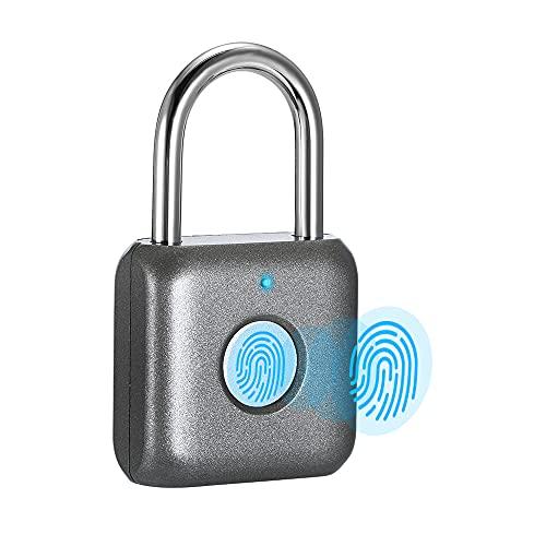 Fingerprint Padlock eLinkSmart Digital Padlock Locker Lock Metal Keyless Thumbprint Lock for Gym Locker, School Locker, Backpack, Suitcase, Luggage (Gray)