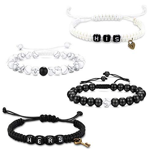 Milacolato 4 Stück Distanz Armbänder für Sie und Ihn Beziehung Paar Armband