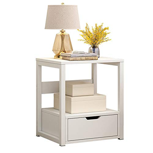 Fthome 2 Tier Modern Square End Table Side Table, US Fast Shipment Night Stand Bedside Coffee Table Nightstand with Storage Drawer for Living Room Bedroom Sofa Couch, Stable and Sturdy (White)