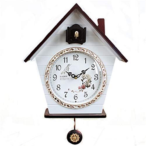 QinWenYan Relojes de Cuco Cuco Cuartz Reloj de Pared Moderno Pájaro Home Sala de Estar Oficina Colgante para Casa (Color : White, Size : 14 Inches)
