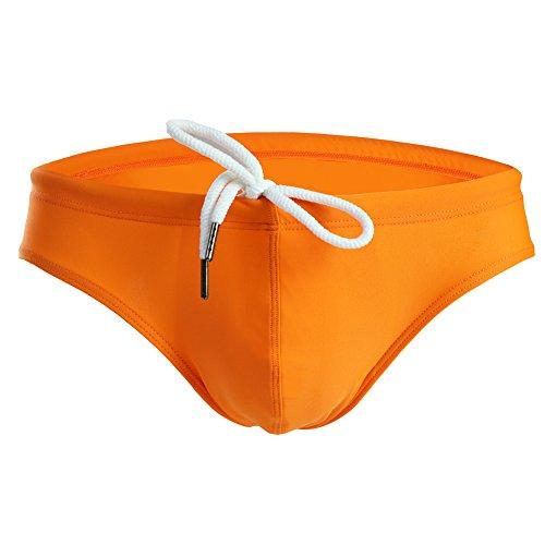 Summer Code Mens Solid Swim Briefs Drawstring Bikini Sport Swimsuit Orange
