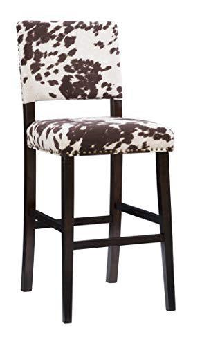 Linon Udder Madness Corey Bar Stool, 19'W x 22.5'D x 44.75'H, Brown