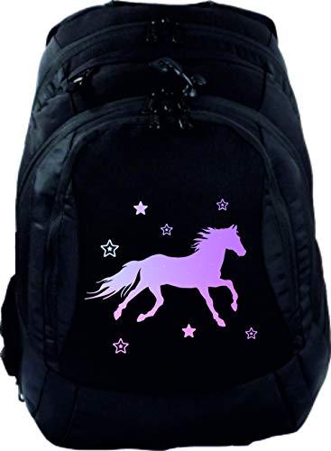 Mein Zwergenland Schulrucksack Teen Compact, 26 L, Schwarz, Pferd mit Sternen