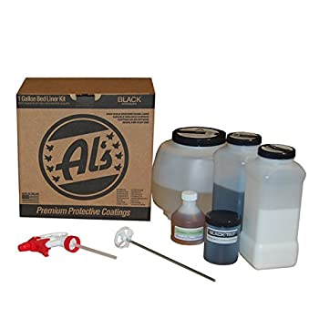 Al s Liner Premium DIY Polyurethane Spray-On Truck Bed Liner Kit with Adhesion Promoter and Small Mix Paddle - Black 1 Gallon - Great for Rocker Panels Bed Rails and Full Vehicle Sprays  ALS-BL