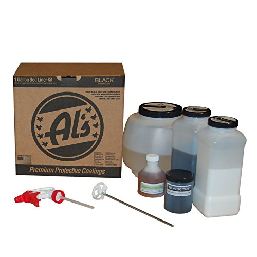 Al's Liner ALS-BL Black Premium DIY Polyurethane Spray-On Truck Bed Liner Kit, with Free Adhesion Promoter and Small Mix Paddle, Great for Rocker Panels, Bed Rails, and Full Vehicle Sprays - 1 Gallon