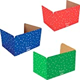 Really Good Stuff Standard Privacy Shields for Student Desks – Set of 12 - 3 Group Colors -Matte - Study Carrel Reduces Distractions - Keep Eyes From Wandering During Tests, Red, Blue & Green School Supplies Pattern
