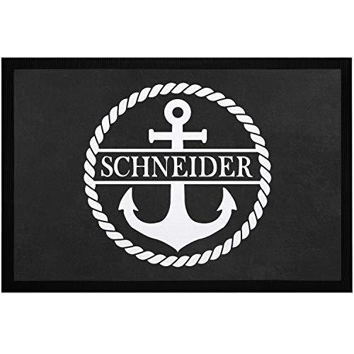 SpecialMe® Fußmatte personalisiert mit Familien-Namen Anker online anpassbare Türmatte rutschfest & waschbar weiß 60x40cm