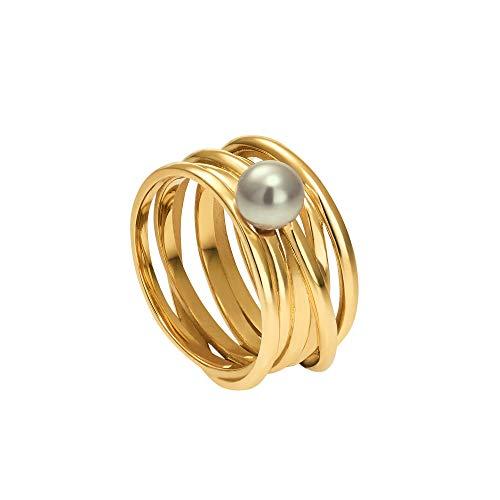 Heideman Ring Damen Serpens aus Edelstahl Gold farbend matt Damenring für Frauen mit Swarovski Perle Weiss grau oder schwarz rund 6mm Perlring Grey Gr.52 hr24268-7-21-52