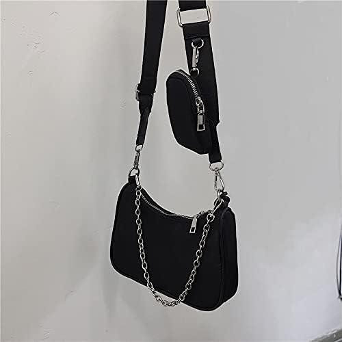 zyylppylw Shoulder Bags 2021 Luxury Designer Women Handbag Female Shoulder Bags Vintage Nylon Hobo Bags Ladies Fashion Chain Underarm Crossbody Bags (Color : Black, Size : 22x6x16cm)