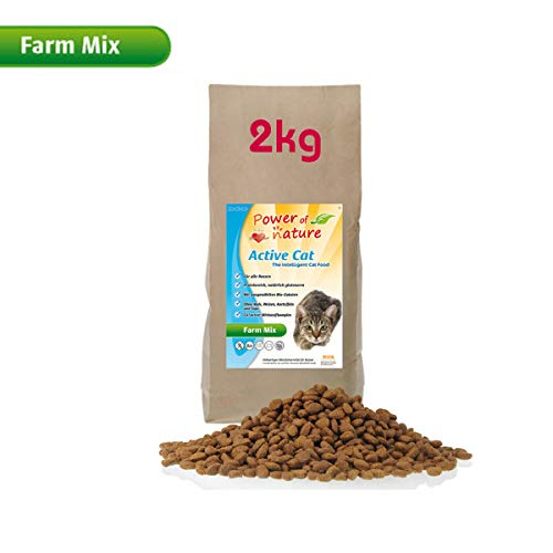 Power of Nature 2 kg Natural Cat Farm Mix Katzenfutter Trockenfutter Huhn Lamm Lachs glutenfrei