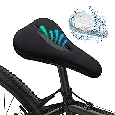 MLD Bike Seat Cushion Cover Comfort, Gel Bike Saddle Cover for Women Men, Memory Foam Padded Bike Seat Covers with Water&Dust Resistant Cover, Black