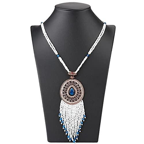 YUANBOO Collar Colgante de Borla de Bohemia for Las Mujeres con Cuentas a Mano Antiguas de Oro cristalino Collar Largo Vintage Boda joyerly (Length : 70cm, Main Stone Color : Blue)