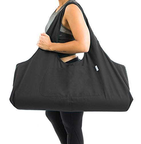 Yogiii Large Yoga Mat Bag | The Original YogiiiTotePRO | Large Yoga Mat Tote Sling Carrier with Side Pocket | Fits Most Size Mats (Obsidian Black)