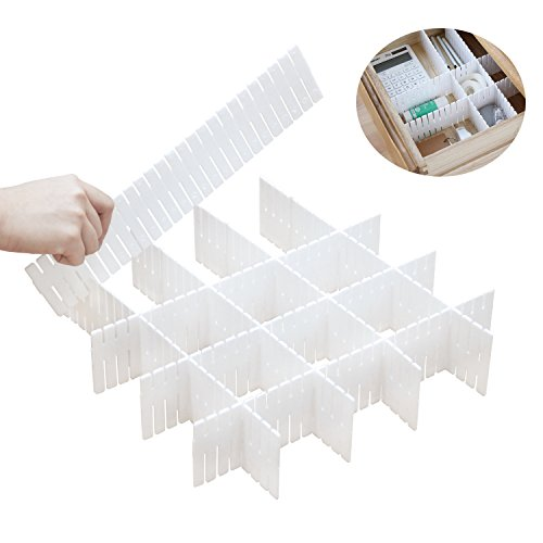 DIY Plastic Drawer Dividers 8 Pcs Dresser Kitchen Office Drawer Organizer Accessories Underwear Tools Utensil Plastic Storage (White)