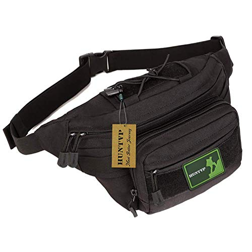 Huntvp Military Hip Fanny Pack Tactical Waist Bag Packs Waterproof Hip Belt Bag Pouch for Hiking Climbing Outdoor Bumbag Black