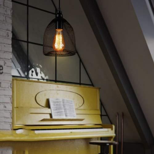 Yjdr Malla de acero Art Solid Chandelier Retro Industrial Restaurante Black Bar Mesa Iluminación Americana Lámpara de barra de luz creativa 180 * 230mm, Titular de la lámpara E27