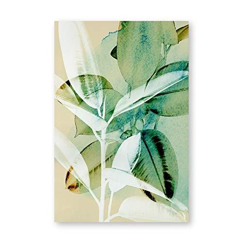 Tropische plantenblaadjes van de abstracte plantenkunst van de grote canvasdruk rubberen aquarelposteruitgang wanddecoratie