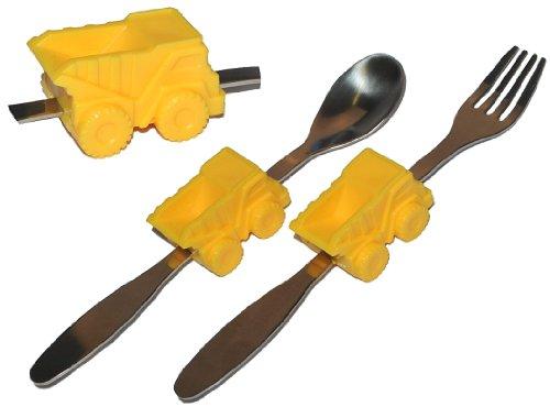 alles-meine.de GmbH 2 TLG. Besteckset aus Edelstahl Gabel Löffel - mit Kipper / Auto - Besteck Kinderbesteck - Autos für Jungen Kinder