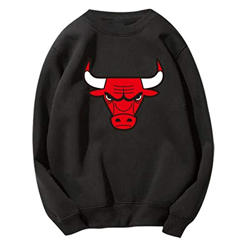 HYF Felpa da Basket Chicago Bulls Uomo e Donna Allenamento Sciolto Maglione Girocollo a Maniche Lunghe a Maniche Lunghe