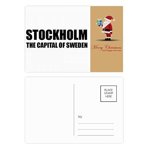 Postkarten-Set, Motiv: Stockholm, die Hauptstadt Schwedens, Weihnachtsmann, Dankeskarte, 20 Stück