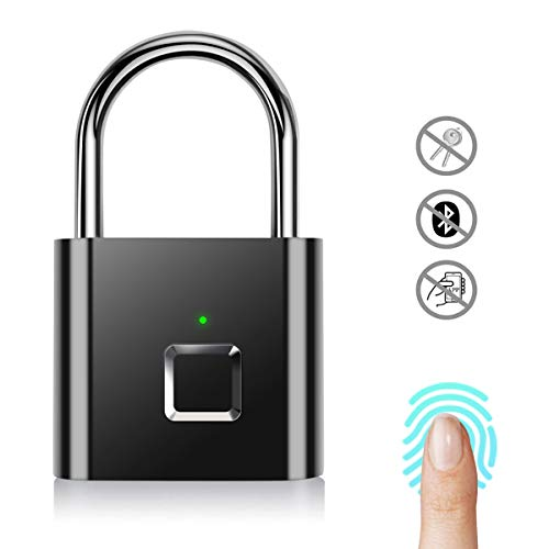 AICase Cadenas à Empreintes Digitales, Serrure Rechargeable USB de sécurité Keyless de Sécurité Imperméable d'IP67 pour Utilisation en Intérieur Et En Plein Air