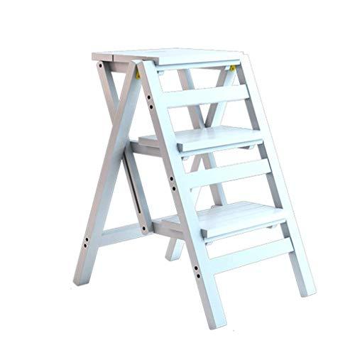 DNSJB Opklapbare voetenbank, houten bed, stap-voetenkruk, keuken, stools, Easy Open/Close met slank profiel voor eenvoudig opbergen, multifunctionele installatie, staand en opbergrek voor thuis