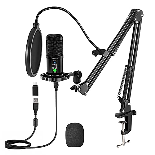 Mercase Studio Professional Condenser USB Microphone Computer Kit with Mute Button,Headset Monitor & Noise Cancelling,for Gaming PS4,Streaming,Podcast,Studio,YouTube,Compatible with PC/Laptop/Phone