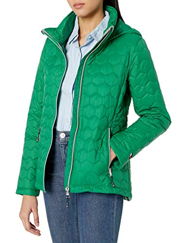 Tommy Hilfiger Women's Hooded Honeycomb Quilted Packable Jacket, Pine, Large