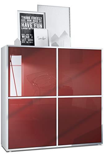 Vladon Highboard Cuba V2 Schrank 104 x 105,5 x 35,5 cm Sideboard mit 8 Fächern, Korpus in Weiß matt/Fronten in Bordeaux Hochglanz