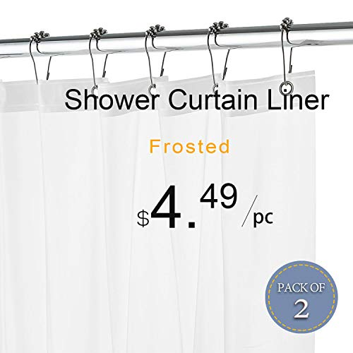 LOVTEX Frosted Shower Curtain Liner - 2 Pack 72x72 Water Repellent Light Weight 3G Liner with Rust Proof Grommets for Bathroom Shower