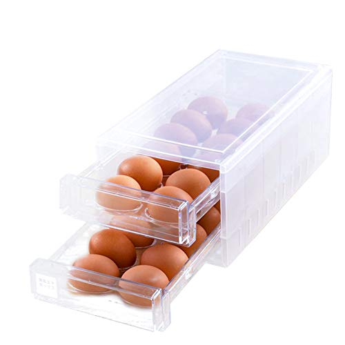 Egg Holder for Refrigerator, Egg Storage Bin With Lid, Double Layer Refrigerator Container Egg Box Stores 24 Eggs, Egg Tray Carrier Fridge Egg Dispenser Stackable Plastic Egg Containers