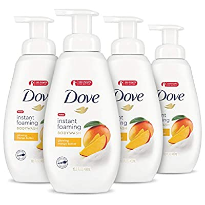 Dove Foaming Body Wash, Body Wash for All Skin Types, Mango Butter For Glowing Skin 13.5 oz 4 Count