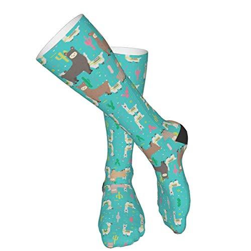 Calcetines altos de algodón con diseño de cactus, para deportes, yoga, senderismo, ciclismo, correr, fútbol