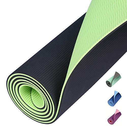 Amazon Brand – Eono TPE Yogamatte rutschfest Gymnastikmatte Pilates Matte Sportmatte Fitnessmatte Schadstofffrei Schwarz/Limette