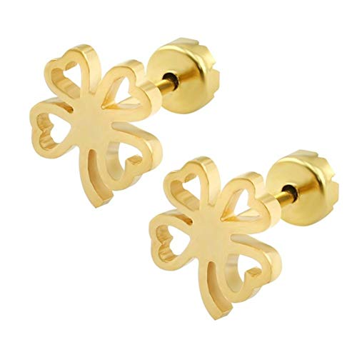AdorabFruit Earrings Stainless Steel Kids Earrings Fashion Jewelry Girl Stud Earing Earing Female Piercing For Girl tunnel (Main Stone Color : 14K Gold Plated, Metal Color : Black Gun Plated)