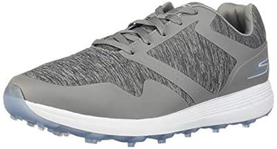 Skechers Women's Max Golf Shoe, Gray/Blue Heathered, 8.5 M US