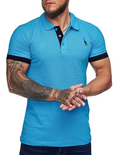 OneRedox Herren Poloshirt Polohemd Basic Kurzarm Einfarbig Slim Fit Polo Shirt Baumwolle T-Shirt Polokragen M-XXXL Modell 1404 Türkis L