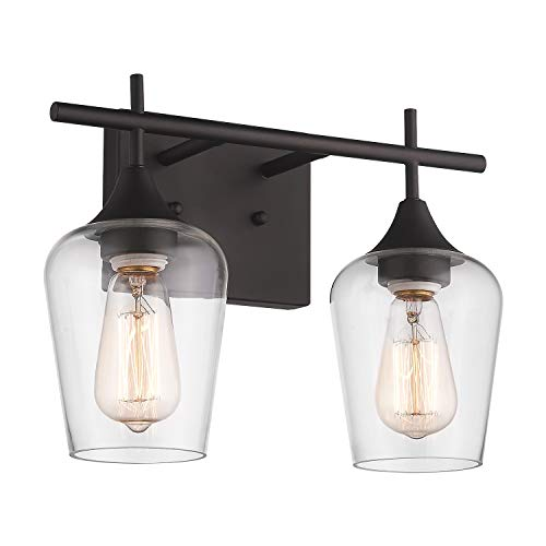 Osimir 2-Light Bathroom Vanity Light Fixtures, Vintage Indoor Wall lamp Lantern, Wall Mount Light Sconces for Hallway, Makeup Dressing Table, Clear Glass Shade, Dark Bronze Finish, WL9167-2A