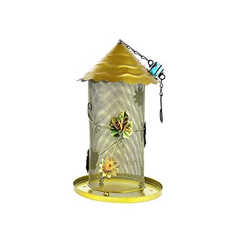 JXXDDQ Fer forgé Mangeoire À Oiseaux Suspendu Mangeoire À Oiseaux Sauvage Conteneur de Graines Outils d'alimentation Jardin Fournir Fournitures pour Animaux (Color : Gold)