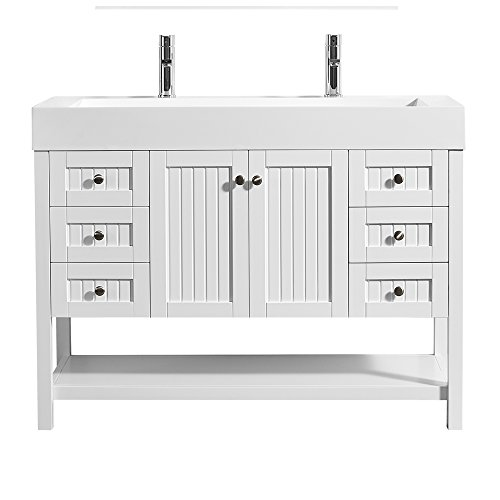 """Vinnova 755048-WH-WH-NM Pavia 48"""" Single Vanity in White with Acrylic Under-Mount Sink Without Mirror"""