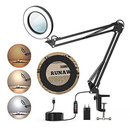 Lámpara de Aumento LED 5X, BEIGAON Luz de Lupa con Abrazadera, 3 Modo de Color, 10 Nivele de Brillo Continua, Brazo giratorio, Alimentación USB, para Lectura, Manualidades y soldadura, Negro