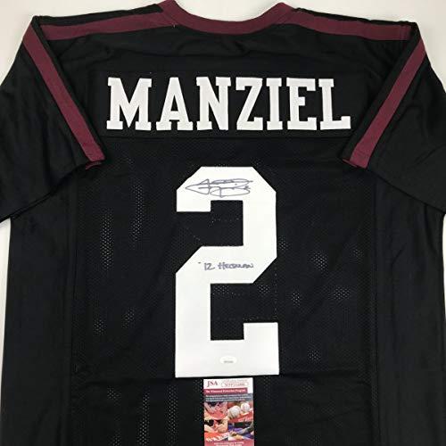 Autographed/Signed Johnny Manziel 12 Heisman Texas A&M Black College Football Jersey JSA COA