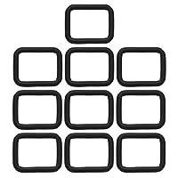 BIKICOCO 四角カン 四角リング、手芸用品 ナスカン 肩掛け 首輪 バッグ カバン ポシェット 財布 手作り、 2 x 1.5 cm、 ブラック - 10個